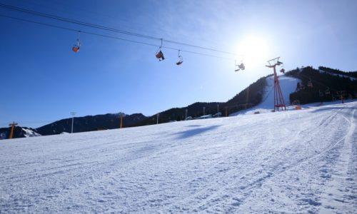 Mountains ski resort cable car in winter