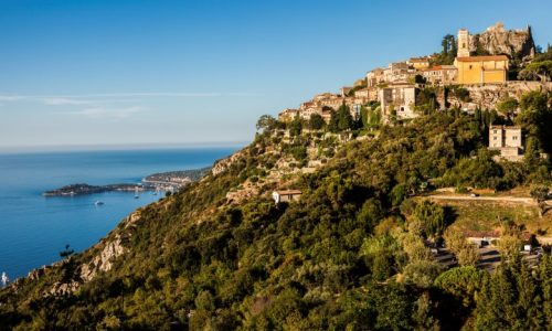 Eze panorama in the morning. Eze, Provence-Alpes-Cote d'Azur, France.