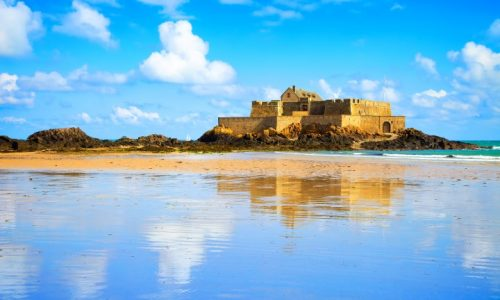Saint Malo, Fort National and beach during Low Tide. Brittany, France, Europe.